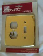 Five 5 Amerock Accents Solid Brass Single Toggle Doubleoutlet Switchplates Nos