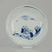 Antique Chinese Plate 17c Porcelain Ming Tianqi Transitional Playing Boy...