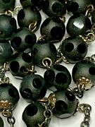 † Unbelievable Vintage Sterling Polka Dotted Black Frosted Glass Rosary 30 †