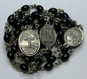 † Very Scarce Vintage Creed Sterling Seven Sorrows Black Rosary Chaplet 34 1/2†