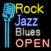 Neon Signs Gift Rock Jazz Blues Open Beer Bar Pub Party Room Wall Display 19x15
