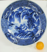 Antique 17 Japanese Blue And White Arita Charger - Late Edo Period - 1820-1850