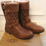 Ugg Australia 'conor' Brown Leather Stud Boots Size 7 1001832 Bwst New In Box