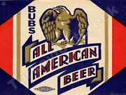 Bubs All American Beer Label 9 X 12 Sign