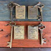 4 Solid Brass Brothel Keys W/ Tags And Antique Finish, Old West Collectible