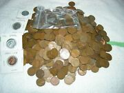 500 Wheat Pennies.. Including 10 Steel Cents .decent Bunch ..most 40s And 50s