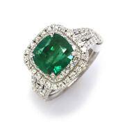 3.4 Ctw Natural Green Emerald Diamond Solid 14k White Gold Halo Engagement Ring