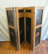 Antique Folding Wood Screen - Hand Painted Bird Primitive Privacy Room Divider