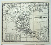 National Railways Of Mexico - Original 1939 Map By Poole Bros. Vintage