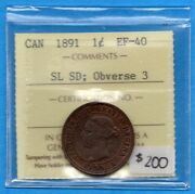 Canada 1891 Sl Sd Obv 3 1 Cent One Large Cent Coin - Iccs Ef-40