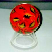 Glass Blown Marbles Or Paperweights 1.5 Dia. Red Flower, Design- Reduced