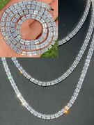Solid 925 Sterling Silver Baguette Tennis Chain Iced Diamond Necklace 5mm Hiphop