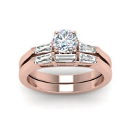 Round Diamond 14 K Rose Gold Rings 1.00 Ct Real Engagement Band Size 6 7 8