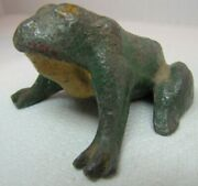 Old Frog Paperweight Decorative Art Statue Multi Color Paint Figural