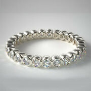 18k White Gold Real 1.25 Ct Diamond Engagement Eternity Band 5 6 7 8 Sale
