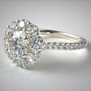 1.50 Ct Real Solitaire Diamond Engagement Rings 18 K White Gold Ring 5 6 7 Sale