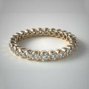 18k Yellow Gold Real 1.25 Ct Diamond Engagement Eternity Band 5 6 7 8 Sale
