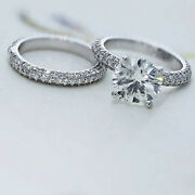1.34 Ct Round Cut Real Diamond Rings 14k Solid White Gold Band Set Size M N