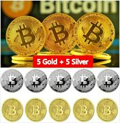 10 Pcs Bitcoin Coins Commemorative Collectors New Gold And Silver Plated Bit Coin