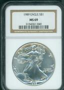 1989 American Silver Eagle Ase S1 Ngc Ms69 Premium Quality Beautiful P.q.
