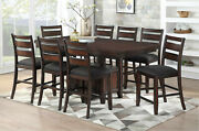 Counter Height Dining Table 8 Side Chairs Wooden 9p Set Brown Color Fabric Chair