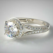 Real 18 K White Gold Valentine 0.99 Ct Diamond Solitaire Engagement Ring 5 6 7 8