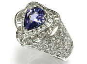 4.3 Ct Tw Natural Blue Violet Tanzanite Diamond Solid 14k White Gold Heart Ring