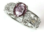 2.35 Ctw Purple Pink Sapphire Diamond 14k White Gold Solitaire Engagement Ring