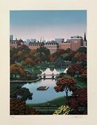 Jim Buckels Boston Public Gardens Hand Signed Limited Edition Lithograph Art