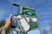 Old Style Quaker State Motor Oil Vintage Type Oil Can Flange Sign Made In Usa