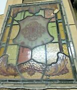 Antique Decorative Stained Glass Panel Shield  A