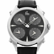 Jacob And Co. Palatial 5 Time Zone Steel Black Dial Mens Watch Pz500.10.ns.la.a