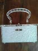 1950s Pearlized Lucite Box Purse Midcentury Vintage White