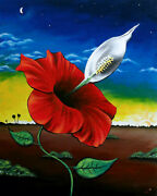 24 X 30 Hibiscus Painting Peace Lily Painting Flower Oil Painting Hibiscus Art
