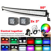 5d Rgb Curved 50 Inch Led Light Bar + 2x 3 Pods And Wiring Kit For Truck Atv Suv