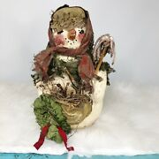 1992 Arlene A Wobler Primitive Folk Art Snowman Woman Wreath Broom