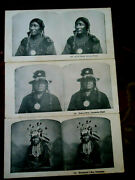 Authentic Original Stereoview Cards 3 Three Indian Chiefs, Comanche, Apache