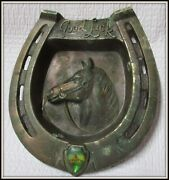 1950's Copper Good Luck Horse Shoe And Head Cowboy Ashtray Marked Japan