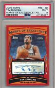 Tim Duncan 2005-06 Topps Marks Of Excellence Auto Psa 9 Mint Pop 1 None Higher