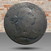 Half Cent/penny 1806 Cohen 2 Rarity 4 Small Date With Stems Nice Details