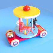 1950s Brio Sweden 8 Merry Go Round Pull Toy W Horses Bell Works Great