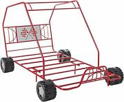 Boys Red Twin Size Metal Canopy Bed Frame Racing Go Kart Dune Buggy Bedroom Fun