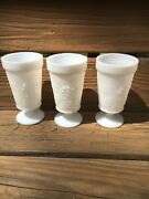 Vintage 3white Milk Glass Footed Goblets / Glasses W/ Grapes And Leaves Pattern