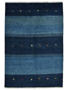 Vintage Tribal Gabbeh Rug 5and039x7and039 Blue Hand-knotted Wool Pile