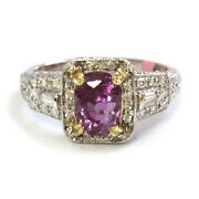 3.5 Ctw Natural Pink Sapphire Diamond Solid 14k 2-tone Gold Halo Engagement Ring