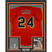 Framed Autographed/signed Willie Mays 33x42 Sf Orange Jersey Say Hey Coa Holo