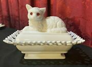 Vintage Antique White Milk Glass Covered Dish Figural Cat With Red Eyes