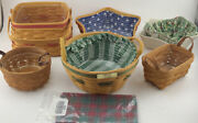 Longaberger Baskets Lot W/ Liners, Pottery, Inserts, Extras 1991-2001