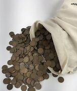 5000 Lincoln Wheat Cent Penny 1c Copper 1909-1958 P/d/s Unsearched 50 Face Bag