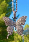 Butterfly Men Women Icy 14k White Gold Filled Pendant Charm Rope Chain 14k Stamp